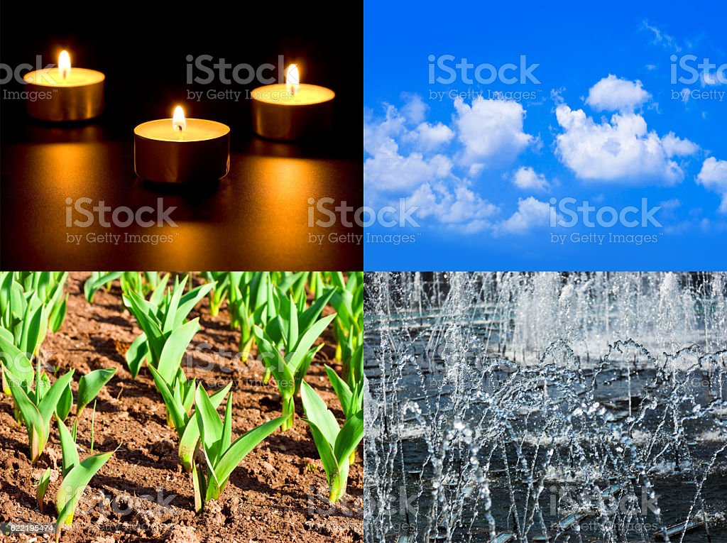 Set of four elements fire, air, ground, water stock photo