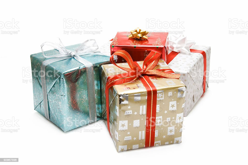 Set of four metallic Christmas wrappers on gifts royalty-free stock photo