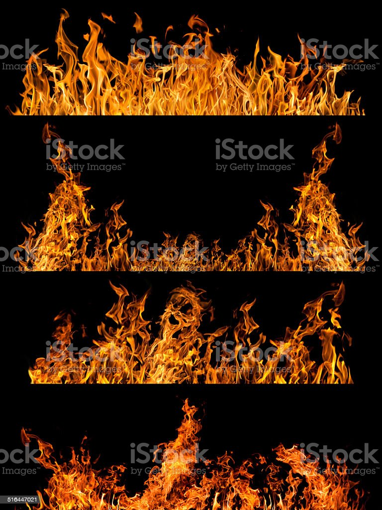 set of four orange flame strips isolated on black stock photo