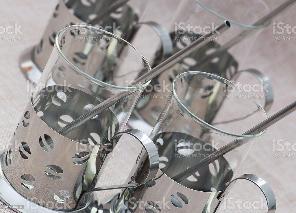 Set of four ornate glasses royalty-free stock photo