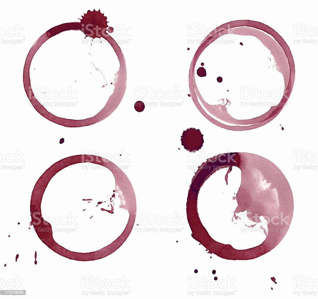 Set of four red wine stains royalty-free stock photo