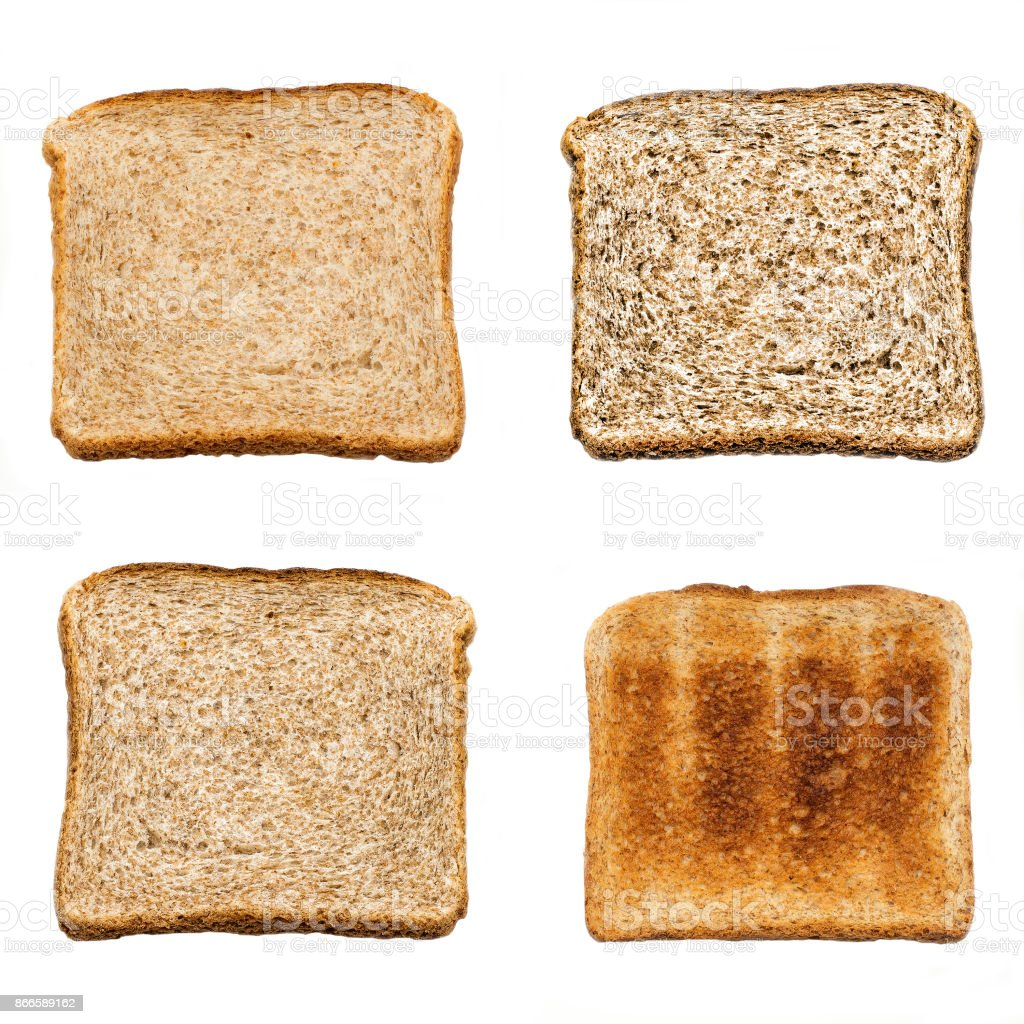 Set of four slices of fresh bread for toast isolated on white background. Close up. Top view stock photo