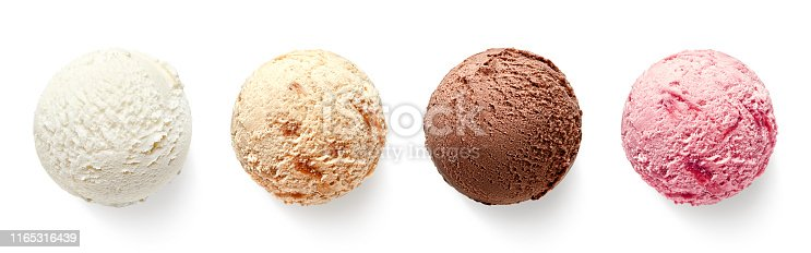 Set of four various ice cream balls or scoops isolated on white background. Top view. Vanilla, strawberry, chocolate and caramel flavor