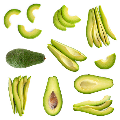 Set of fresh avocado isolated on white background. Top view.