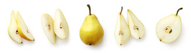 白い背景に分離新鮮な梨のセット - ナシ ストックフォトと画像