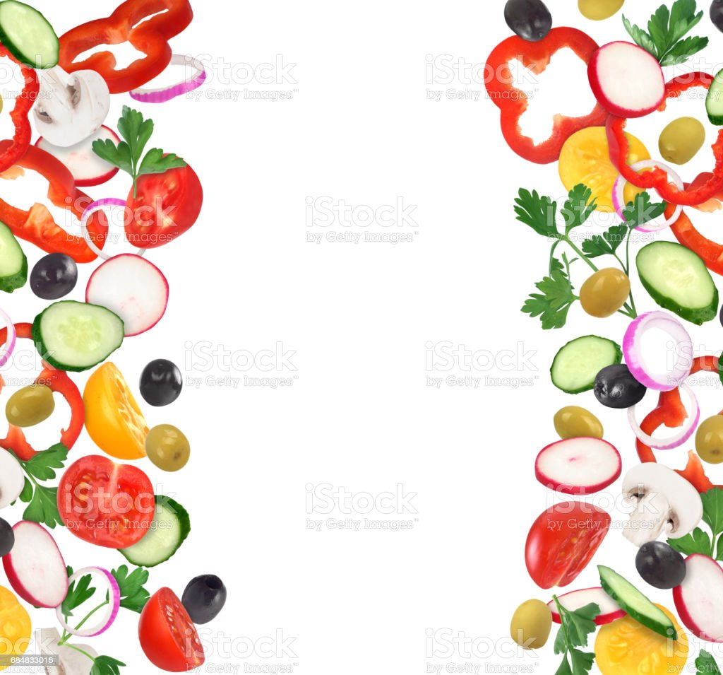 set of fresh vegetable slices isoleted on white stock photo