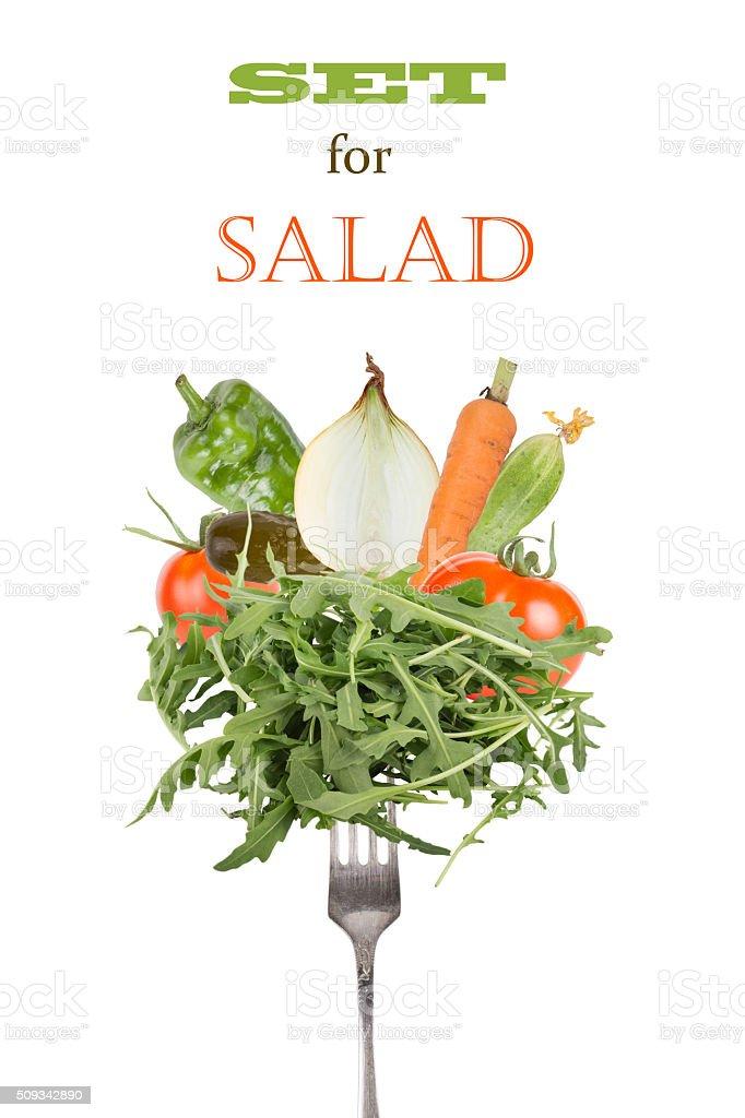 Set of fresh vegetables isolated on white background stock photo