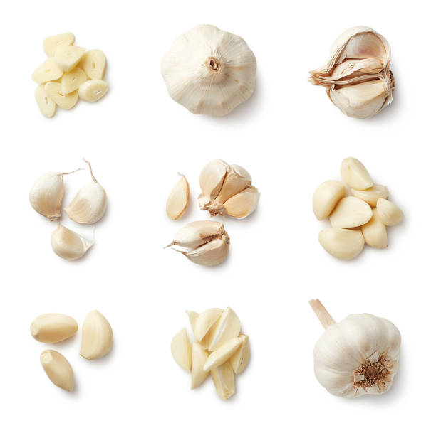 Set of fresh whole and sliced garlics stock photo
