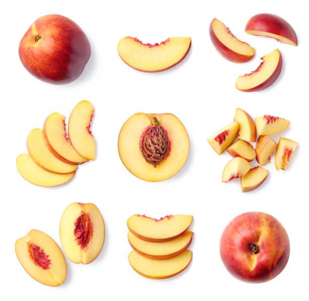 set aus frischen voll- und in scheiben geschnittenen nektarinenfrüchten - peach stock-fotos und bilder