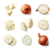 Set of fresh whole and sliced onions isolated on white background. Top view