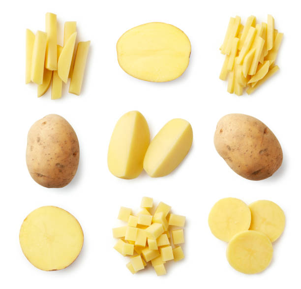 一套新鮮的土豆和土豆片 - 薯仔食品 個照片及圖片檔