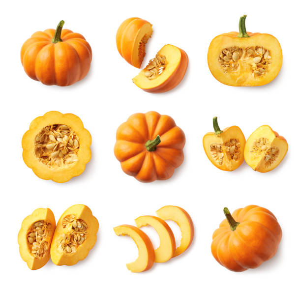 Set of fresh whole and sliced pumpkin Set of fresh whole and sliced pumpkin isolated on white background. Top view pumpkin stock pictures, royalty-free photos & images