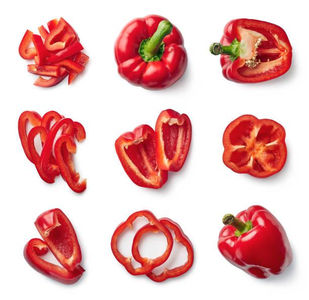 set of fresh whole and sliced sweet pepper - papryka słodka zdjęcia i obrazy z banku zdjęć