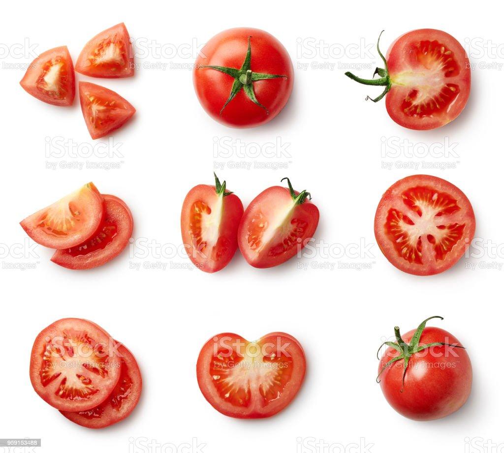 Set of fresh whole and sliced tomatoes - fotografia de stock