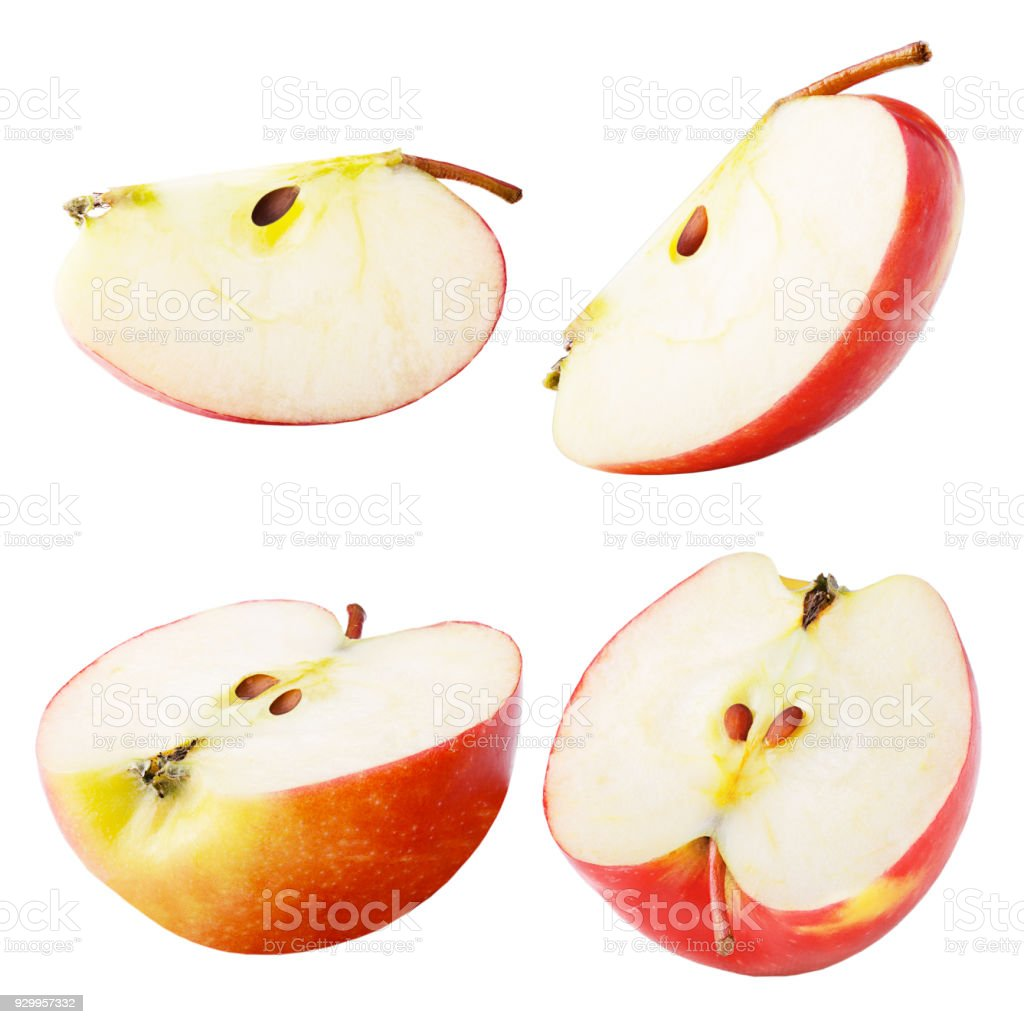 Set of freshly slices apple isolated on white - foto stock