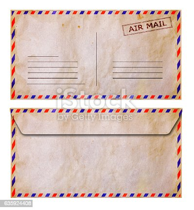 istock Set of front and back side old grunge airmail envelope 635924408