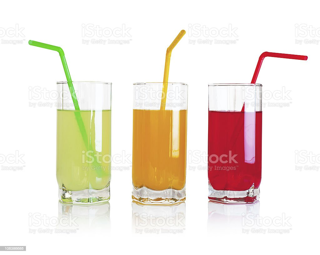 Set of fruit drinks stock photo