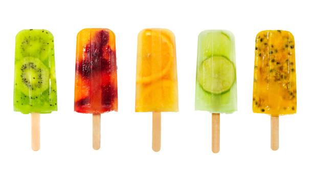 set van fruit popsicle geïsoleerd op wit - ijslollie bevroren zoetigheid stockfoto's en -beelden
