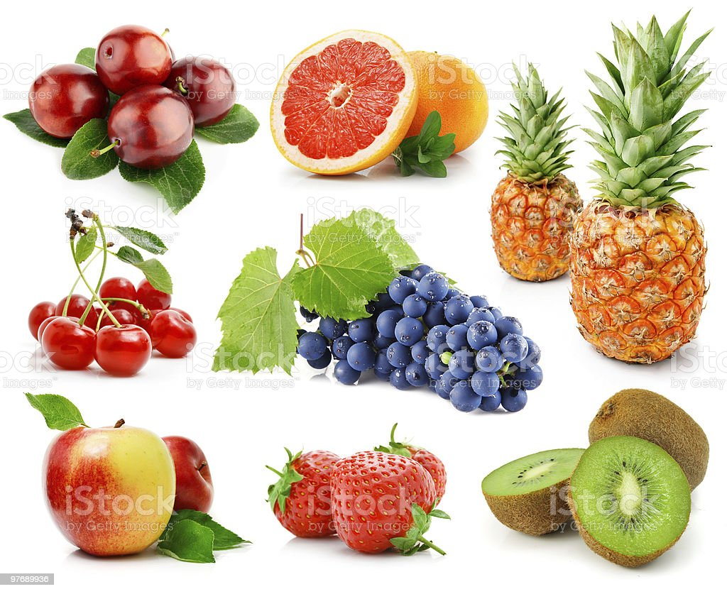 set of fruits and berries isolated on white royalty-free stock photo