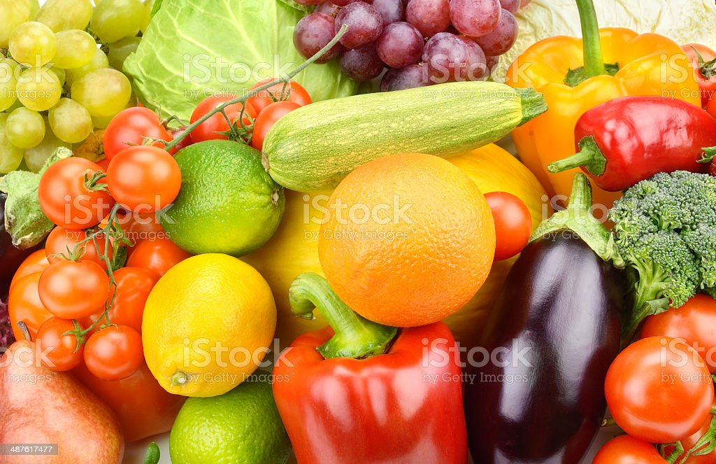 set of fruits and vegetables royalty-free stock photo