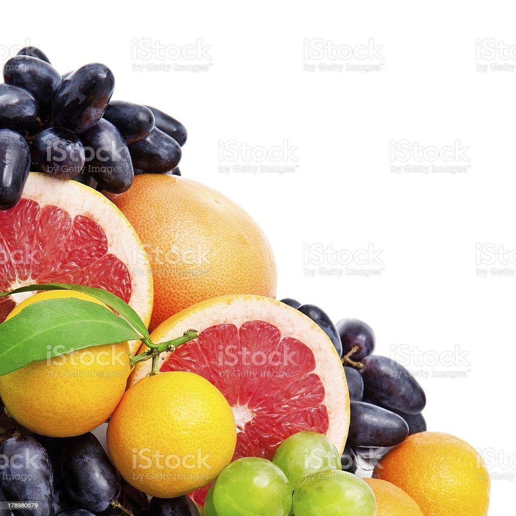 Set of fruits on white background stock photo