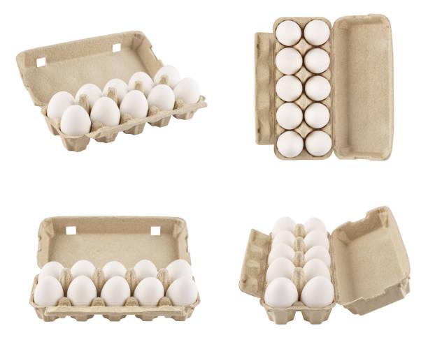 set von vollen eierkartons aus verschiedenen blickwinkeln geschossen. abgeschnitten. - eierverpackung stock-fotos und bilder