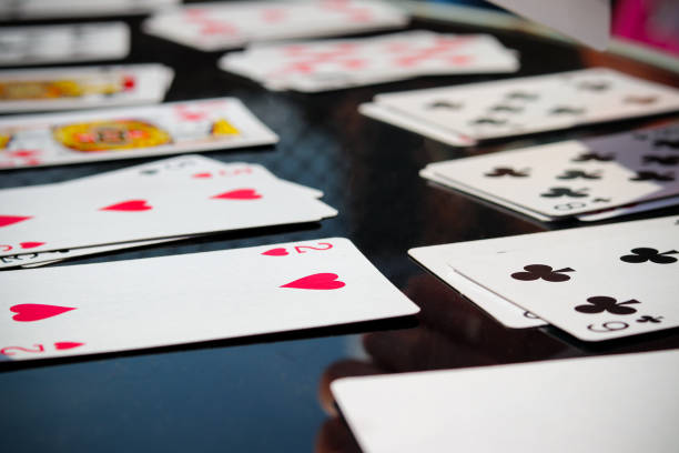 Set of game playing cards stock photo