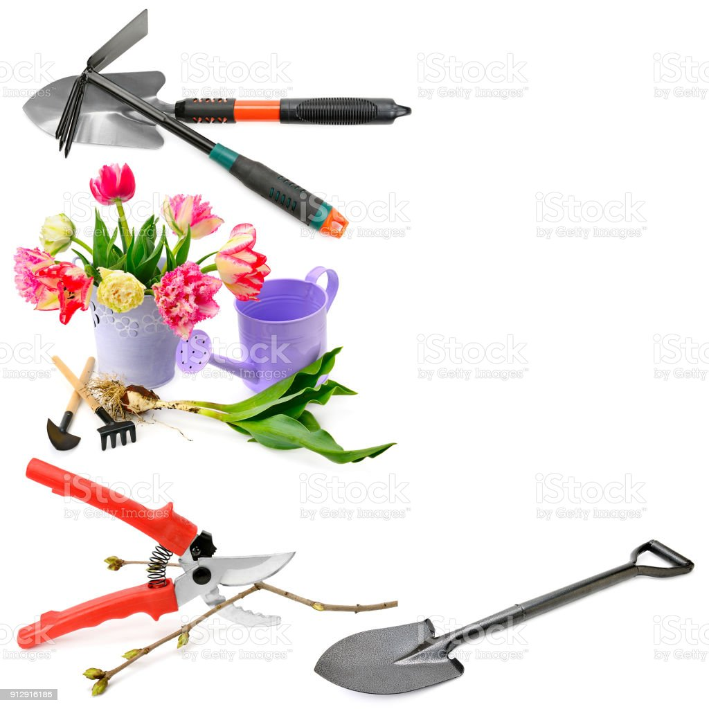Set of garden tools isolated on white background. Collage. stock photo