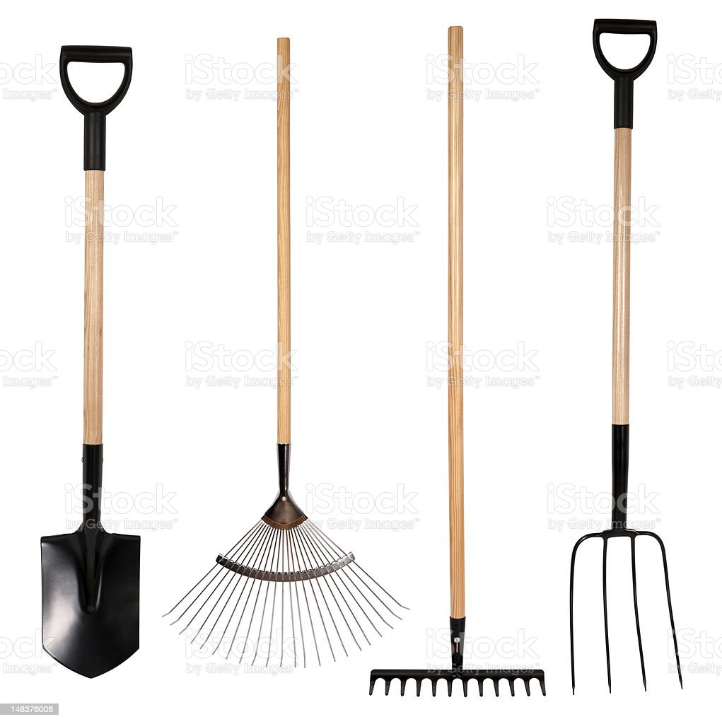 Set of gardening tool on white background stock photo