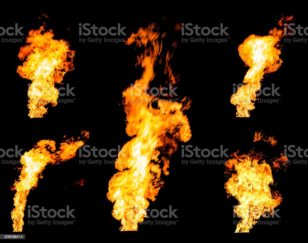 Set of gas flares blazing fire spurts and glowing flames stock photo