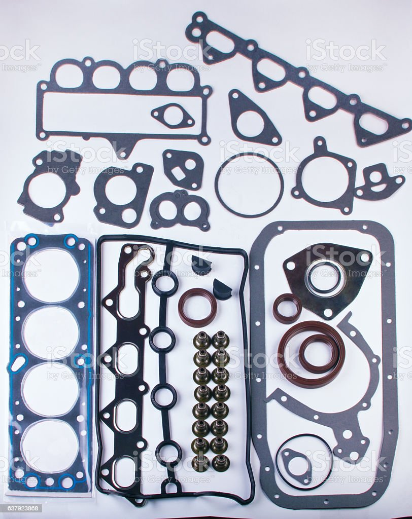 Set of gaskets for engine passenger car stock photo