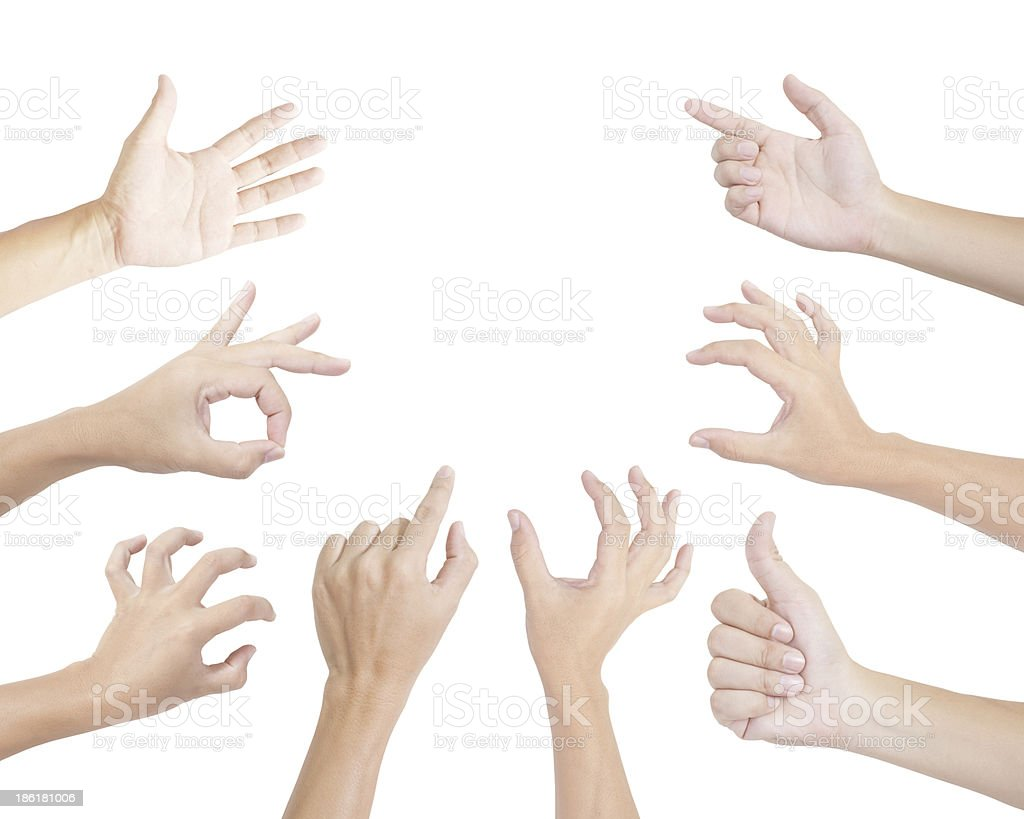 Set of gesturing hands isolated on white background stock photo