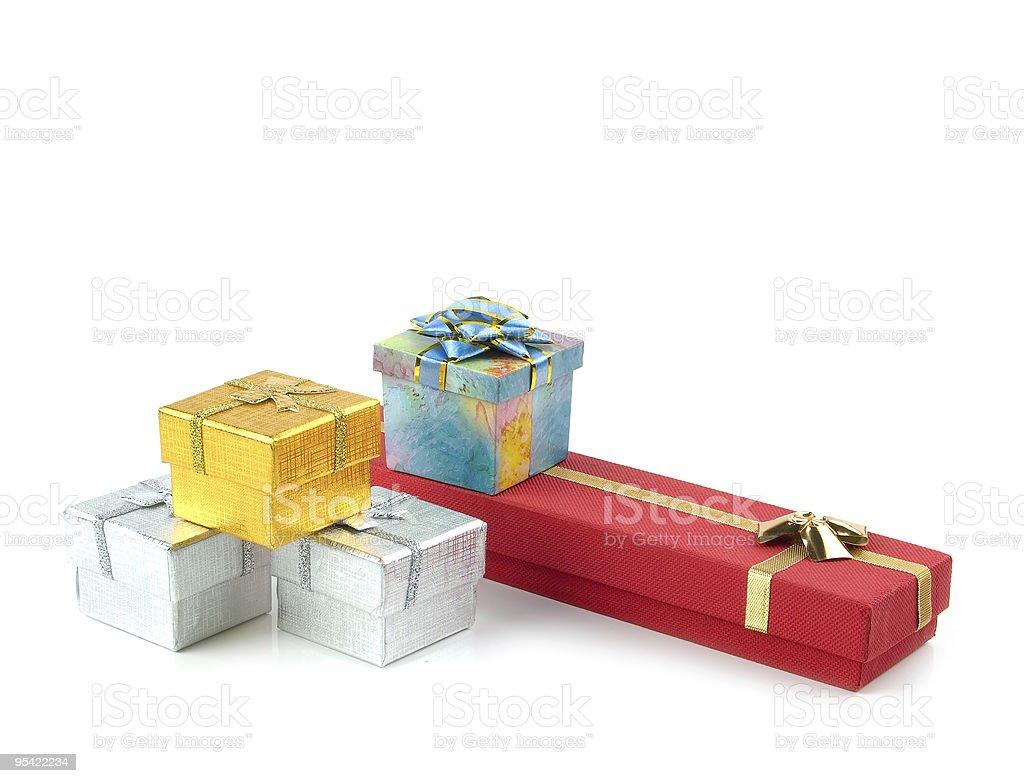 Reihe von Geschenk-Boxen Lizenzfreies stock-foto