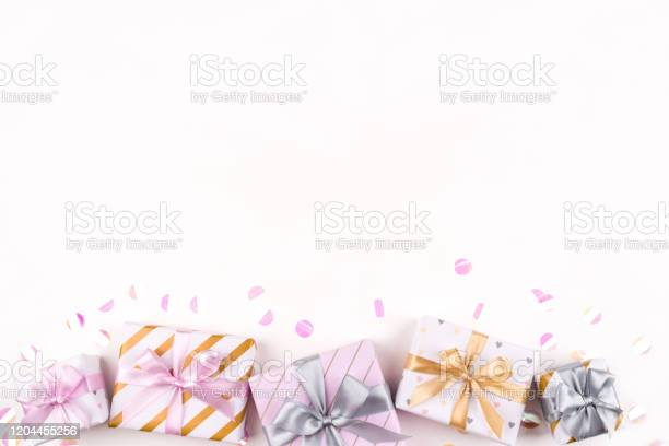 Set of gift boxes with bows and confetti on a white background picture id1204455256?b=1&k=6&m=1204455256&s=612x612&h=ymqgeql1qcq38bbvhyqocqqj1y xahem99ntnp7jfug=