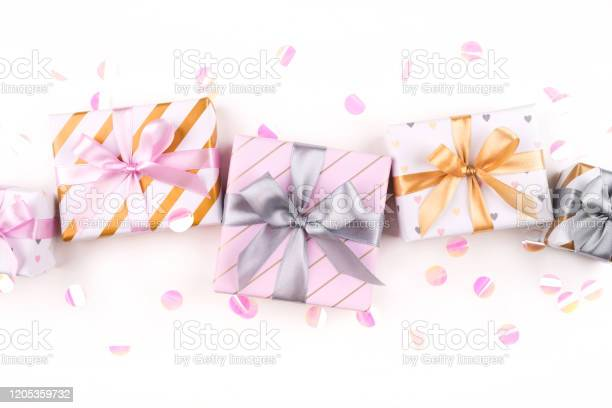 Set of gift boxes with bows and confetti on a white background picture id1205359732?b=1&k=6&m=1205359732&s=612x612&h=zrkugldurpcjg79xiailf48t8pvhxcxffncomkpccvm=