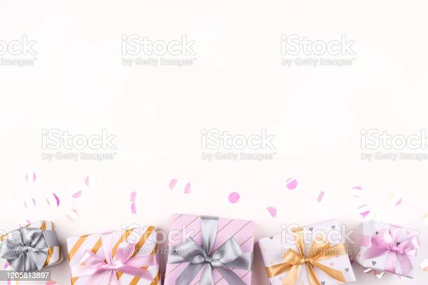 Set of gift boxes with bows and confetti on a white background picture id1205813897?b=1&k=6&m=1205813897&s=612x612&h=no3 qp23chpxccpdzeega9scpdh qa7ykj01nbv6t2s=