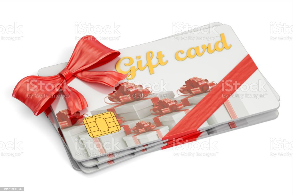 Set of gift cards, 3D rendering isolated on white background stock photo