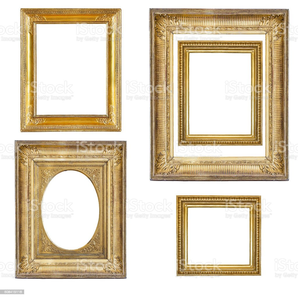 Set Of Gilded Frames Isolated On White Stock Photo & More Pictures ...