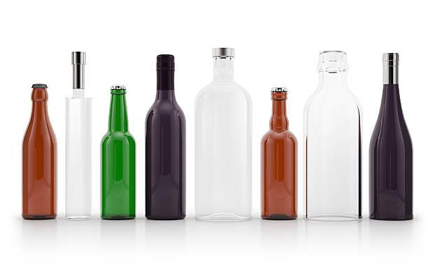 satz von glas-flaschen - recycelte weinflaschen stock-fotos und bilder