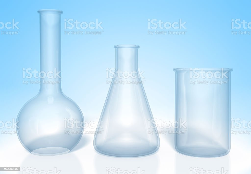 Set Of Glass Flasks For Chemistry Experiments Rendered In 3d