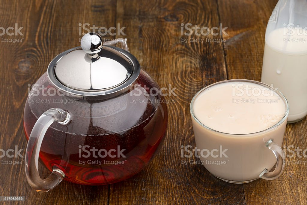 Set of glass teapot, teacup and milk bottle stock photo