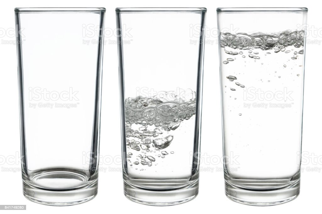 set of glasses of water isolated on white stock photo