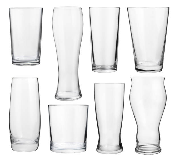 Set of glasses Collection of empty glasses for alcohol and soft drinks beer glass stock pictures, royalty-free photos & images