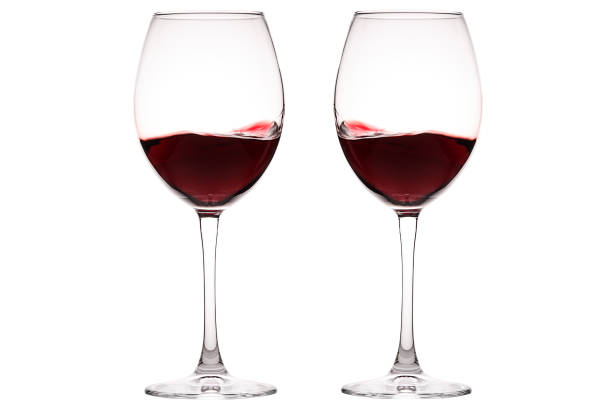 Set of glasses with red wine. Glass of wine, wine glass isolated stock photo