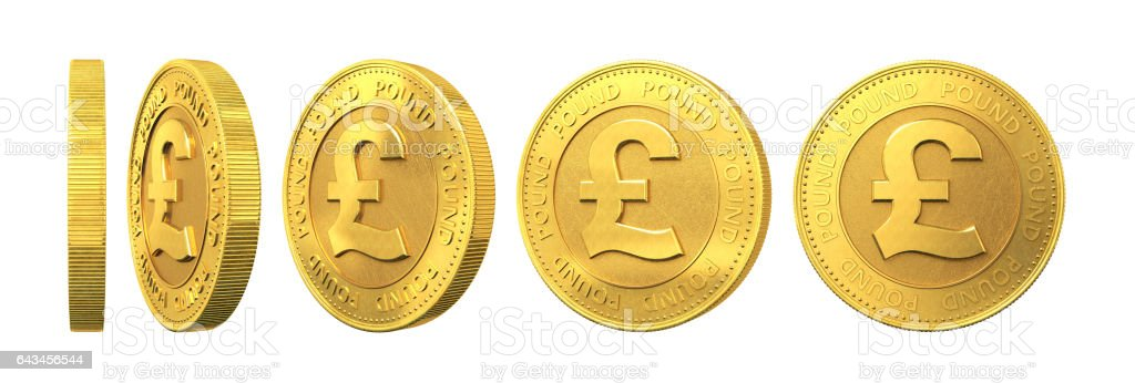 Set of gold coins with pound sign isolated on a white background. 3d rendering. stock photo