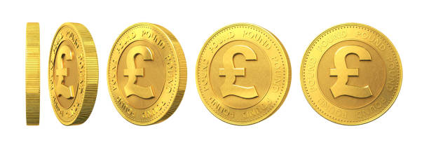 Set of gold coins with pound sign isolated on a white background. 3d rendering. Set of gold coins with pound sign isolated on a white background. 3d rendering. one pound coin stock pictures, royalty-free photos & images