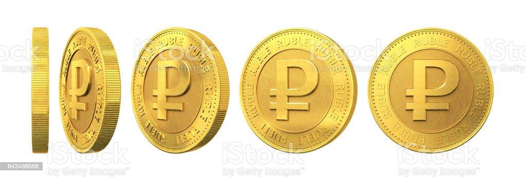 Conjunto de monedas de oro con rublo signo aislado sobre fondo blanco. Render 3D. - foto de stock