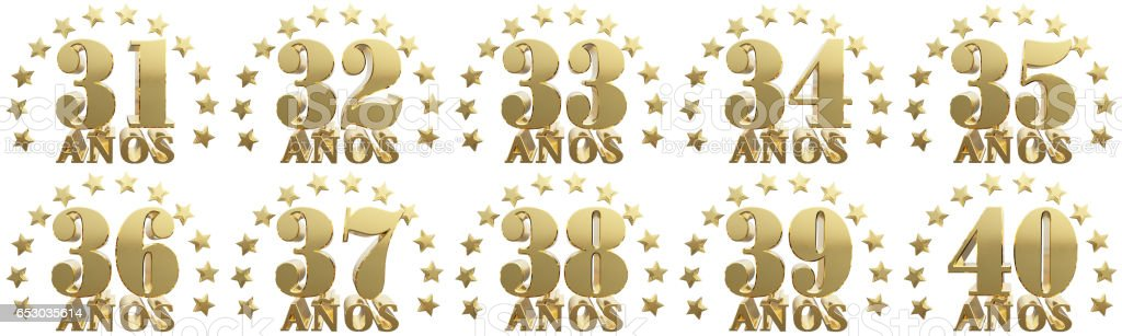 Set of gold numbers and lettering of the year stock photo
