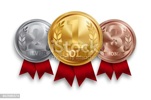 istock A set of gold, silver and bronze medals, the first, second and third place. Winner, champion, number one, two, three. Red ribbon. Isolated on white background. Realistic illustration. Sports theme. 942595374