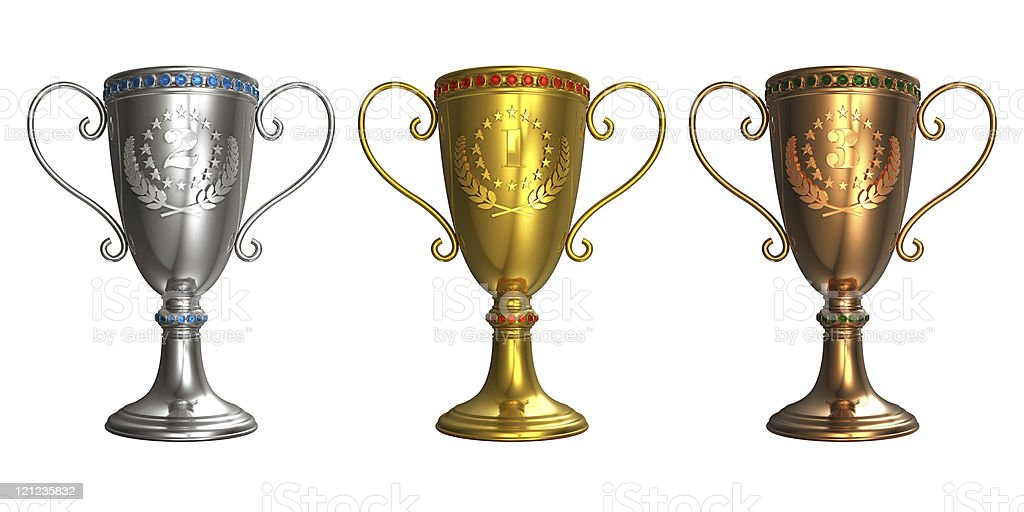 Set of gold, silver and bronze trophy cups royalty-free stock photo